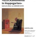 Ausstellungsplakat Glücksmomente in Hoppegarten - Satirische Bilder von GERHARD GLÜCK